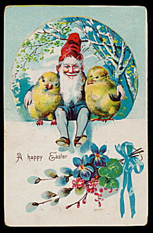 Happy Easter Elf with Chicks 1909 Postcard (Image1)