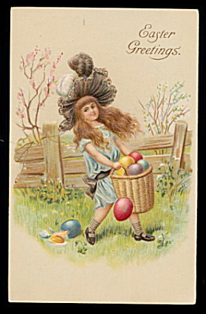 Lovely Easter Girl Collecting Eggs 1908 Postcard (Image1)