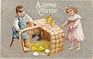"""A Joyful Easter"" Children 1907 Postcard (Image1)"