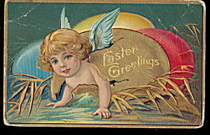 Great Easter Angel Crawling Out of Egg 1907 Postcard (Image1)