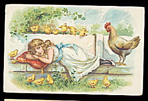 Tucks Easter Series 111 Girl Napping 1909 Postcard (Image1)