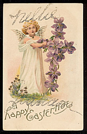 'A Happy Eastertide' Angel Easter 1907 Postcard (Image1)