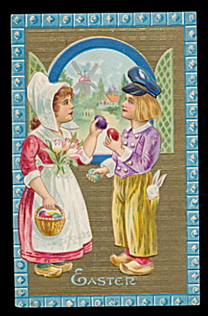 1907 Winsch Easter Dutch Children 1907 Postcard (Image1)