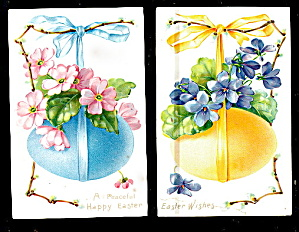 2 1906 Tucks Easter Eggs With Ribbons Postcards