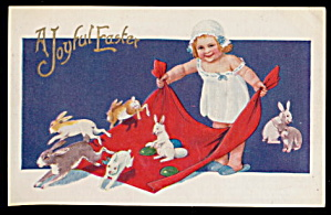 1910 Easter Girl with Rabbits Postcard (Image1)
