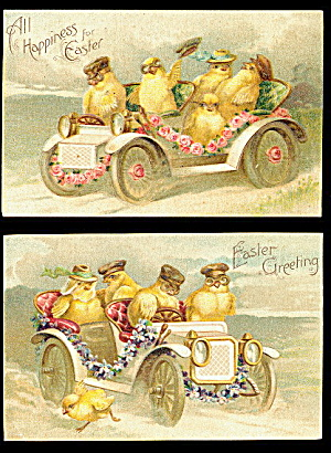 2 International Arts Chicks With Autos 1907 Postcards