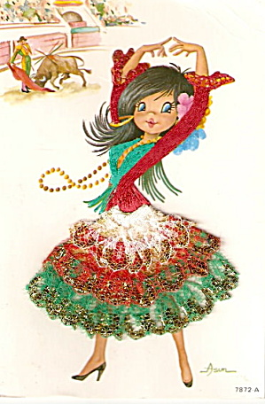 1960s Spanish Dancer With Embroidered Skirt Postcard