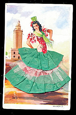 1960s Malaga Dancer With Embroidered Skirt Postcard