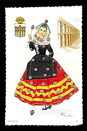 1960s Segovia Dancer With Embroidered Skirt Postcard