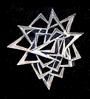 1950s Emmons Deco Design Silver Tone Brooch (Image1)