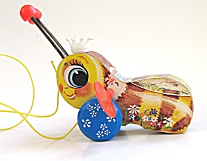 1959 Fisher Price #444 Queen Buzzy Bee Pull Toy