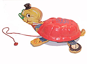 1950s Fisher Price 125 Uncle Timmy Turtle Pull Toy