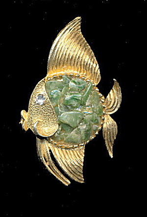 1950s Green Rock Fish Brooch