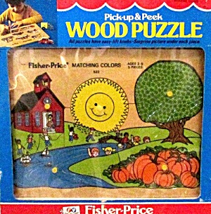 1978 Fisher Price Wooden Puzzle #522 Mint in Box (Image1)