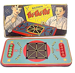 1950s Baldwin Tic Tac Toe Tin Game With Marbles