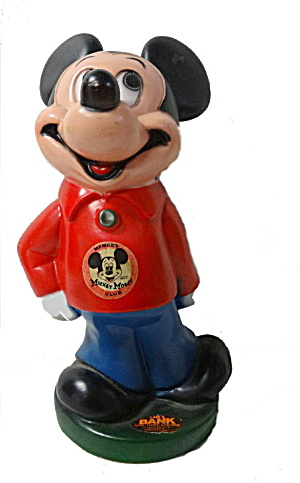 1970 Mickey Mouse Club Coin Bank - Play Pal Plastic