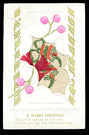1908 Embroidered Silk Flowers Christmas Postcard