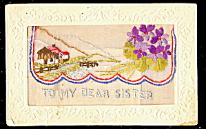 1908 Embroidered Silk Flowers 'dear Sister' Postcard
