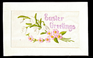 1908 Embroidered Silk Flowers Easter Postcard