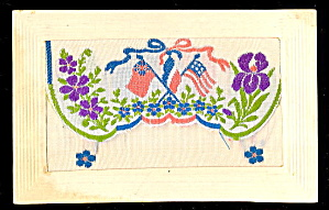 1912 Embroidered Silk Patriotic Flags Postcard
