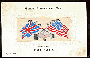 1912 Embroidered Silk Rms Baltic Flags Postcard