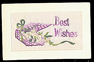 1908 Embroidered Silk Flowers Best Wishes Postcard