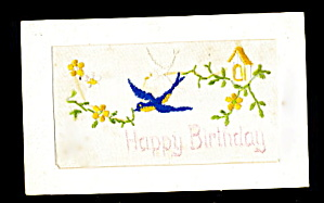 Lovely 1908 Embroidered Silk Flowers Postcard