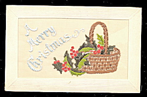 1908 Embroidered Silk Christmas Postcard