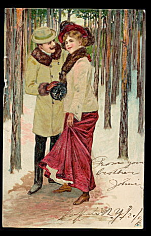 1906 Postkarte Romance Couple in Woods Postcard (Image1)