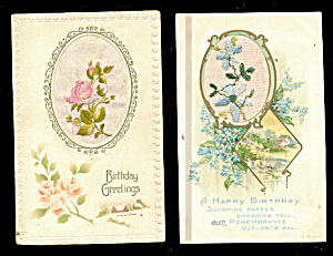 2 1908 Embroidered Silk Flowers Birthdays Postcards