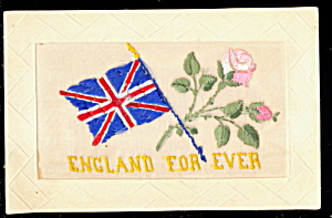 1908 Embroidered Silk England For Ever Postcard