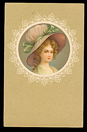 Lovely Girl with Hat/Bonnet 1915 Postcard (Image1)