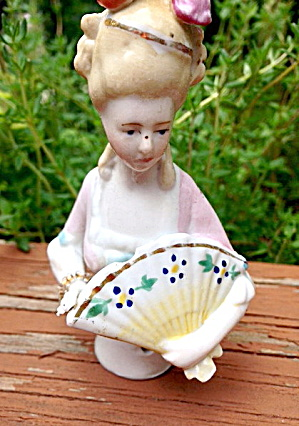 "1920s Bisque Germany 3 3/4"" W Fan Half Doll"