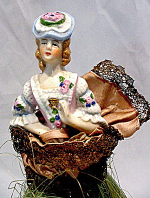1920s Bisque/porcelain German Half Doll Broom