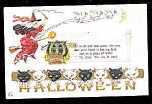 Witch With Cats 1913 Halloween Postcard