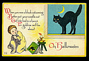 Black Cat 1913 Halloween Postcard