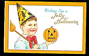1912 Halloween Boy With Hat Holding Jol Postcard