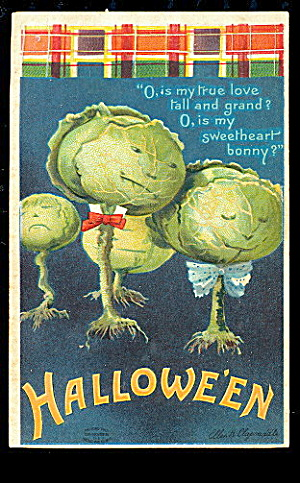 1912 Halloween Ellen Clapsaddle Cabbages Postcard