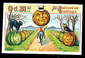 1909 Halloween Jol Head With Black Cat Postcard