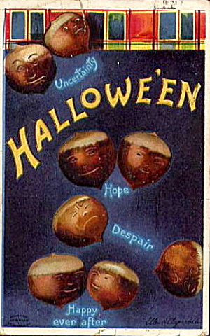 1912 Halloween Ellen Clapsaddle Acorns Postcard (Image1)