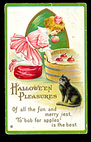 1918 Girl With Apples & Black Cat Halloween Postcard