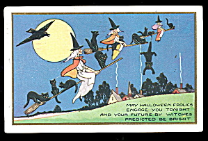 Whitney 1924 Witches & Moon Halloween Postcard