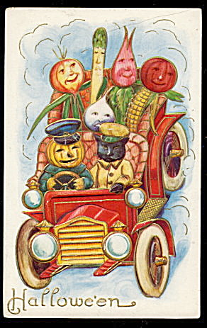 JOL Driving Car with Veggies Halloween Postcard (Image1)