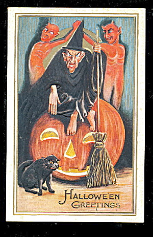 1911 Halloween Mean Witch, Jol & Cat Postcard