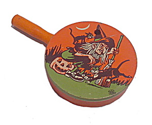 1940s Halloween Witch & Cat Tin Noise Maker
