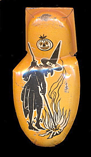 Vintage Kirchhof Tin Litho Halloween Witch Clicker