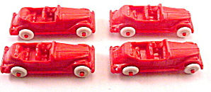 4 1950s Hard Plastic Red Cars - Renwal (Image1)
