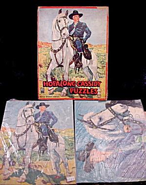 1950s Milton Bradley Hopalong Cassidy 3 Puzzles w Box (Image1)