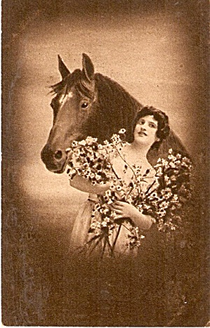 Studio Girl with Horse 1907 Postcard (Image1)