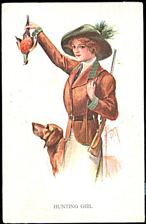 1911 Court Barber 'hunting Girl' With Dog Postcard